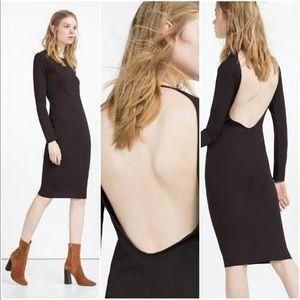 ZARA Backless Low Back Midi Sheath Dress 5410/027